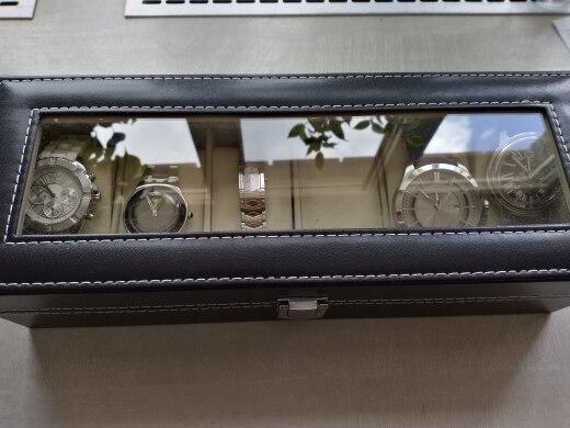 Image 4 - Window Organizer Box for Save 6 Wrist Watches Box Jewelry Display Case Storage Holderbox for watchesboxes for watches wristwrist watch box -