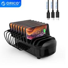 ORICO 10 Ports USB Charger Station With Free 10 Cables for Mobile Phone Tablet 120W Output