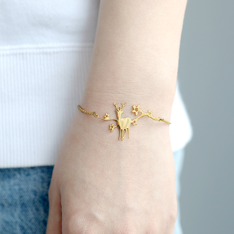 Creative Animal Deer Bracelet Stainless Steel Cute Elk Antler Jewelry For Women Girl New Year Christmas Friendship Gift Mujer image