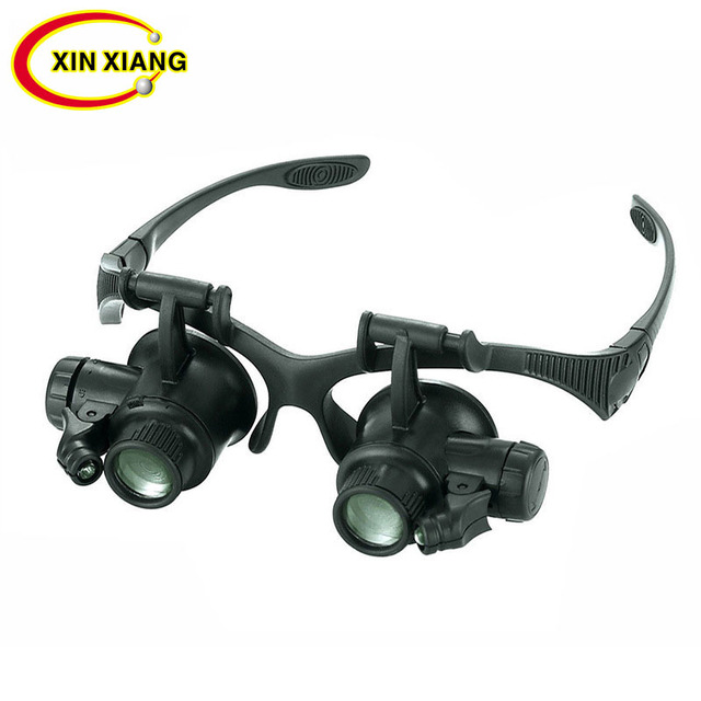 Black Watch Magnifier High Zoom Headband Eyewear Magnifying Glasses 2 LED Illuminated Magnifier Watch Repair Glasses Binoculars
