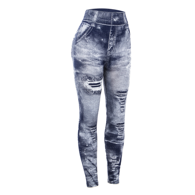 Women Imitation Jeans Leggings Slim Elastic Pencil Pants Casual Tights 2019 New Items for Autumn Fashion Hole Vintage Denim Pant 4