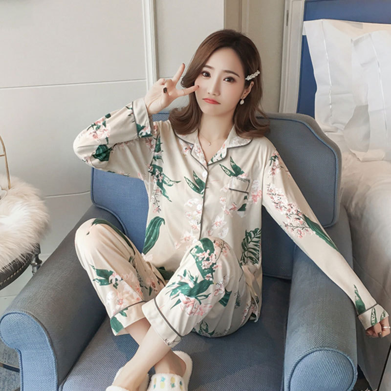 New Products WOMEN'S Pajamas Women's Spring And Autumn Cardigan Suit Long Sleeve Shao Nv Kuan Printed Korean-style Home Wear Apr