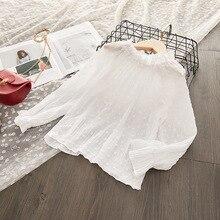 Коллекция года, рубашка для девочек весенняя одежда новая стильная детская рубашка с длинными рукавами и стоячим воротником в Корейском стиле женская детская одежда, рубашка, Fas