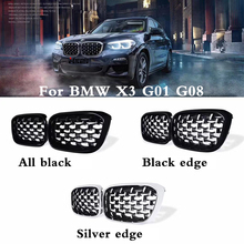A pair New diamond style grill For BMW X3 G01 G08 2018 Racing Grills Front Kidney Grille Three styles