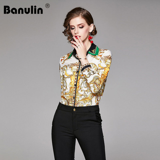 2019 Spring Autumn Design Womans Long-Sleeved Shirt Blouse High Quality Women Printed Office Runway Slim Shirts Tops M-2XL 1