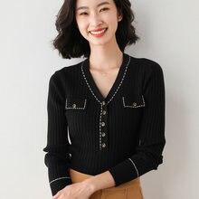 Женский вязаный свитер кашемировый с v образным вырезом Модный