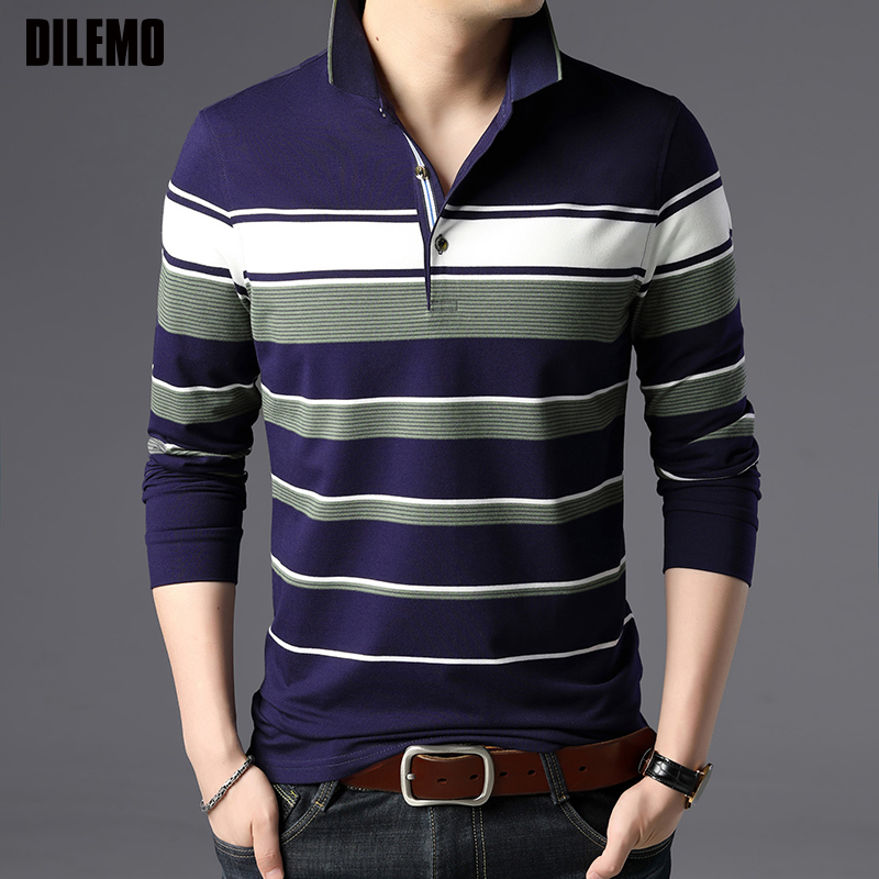 2019 New Fashions Brand Designer Clothing Polo Shirts Men Striped Long Sleeve Korean Slim Fit Boys Polos Casual Men's Clothing