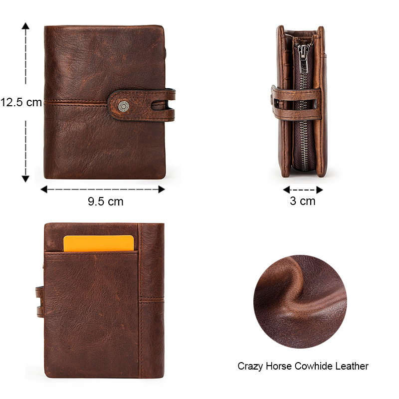 CONTACT'S NEW Crazy Horse Leather Wallet Men Coin Purse Casual Card Holder Small Billfold for Man High Quality Male Wallets RFID