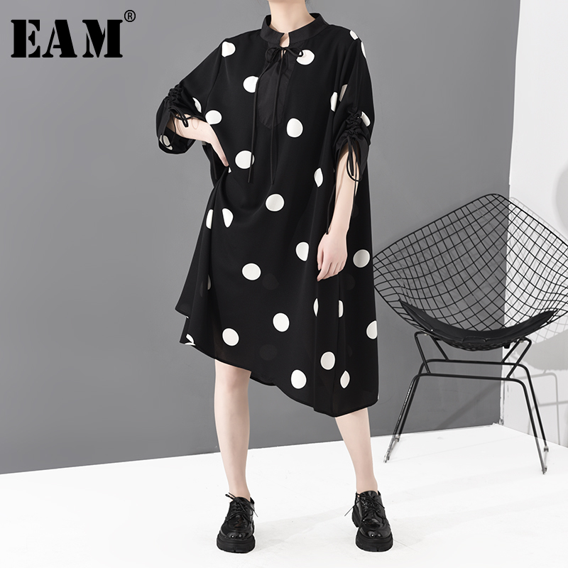 [EAM] Women Black Dot Printed Big Size Dress New Stand Collar Three-quarter Sleeve Loose Fit Fashion Spring Autumn 2020 1S693