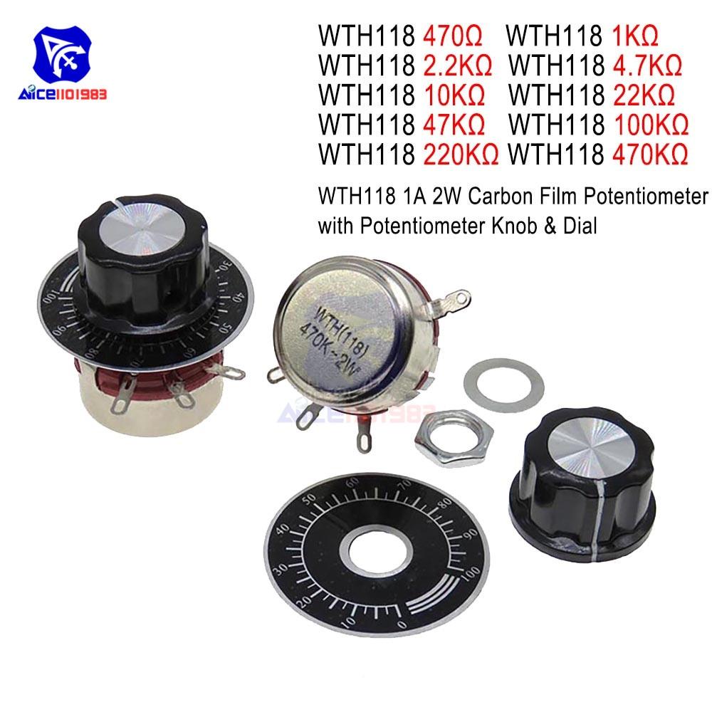 470R 1K 2.2K 4.7K 10K 22K 47K 100K 220K 470K Ohm 3Pin Linear Taper Rotary Potentiometer Variable Resistor For Arduino W/Cap Dial