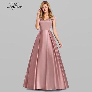 Fashion Satin Long Women Dresses A-Line V-Neck Off The Shoulder Elegant Summer For Party Ladies Maxi Robe Femme