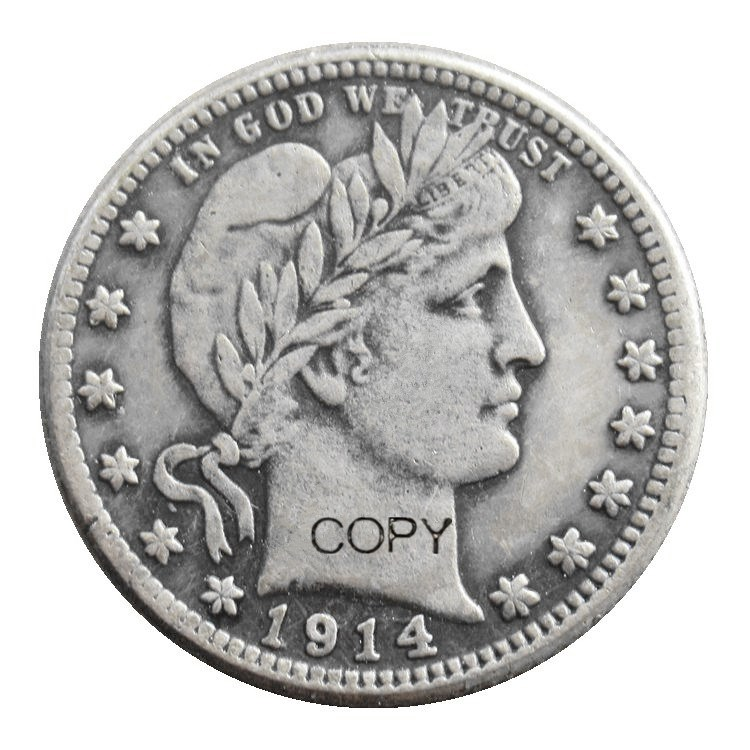 US <font><b>1914</b></font> P/S/D Barber Quarter Dollars Silver Plated Copy Coin image