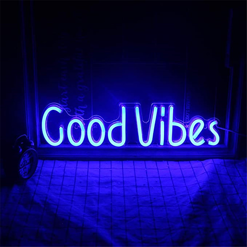 Good Vibes Neon Signs Neon Lights For Decor Light Lamp Bedroom Beer Bar Pub Hotel Party Restaurant Game Room Wall Art Decoration
