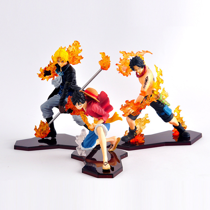 One Piece Garage Kit Flame Attack 2 S Luffy Ace Saab Three Brothers Garage Kit Fighting Version ZERO