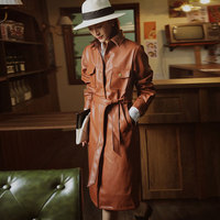 2020 Spring and Autumn Pu Leather Trench Coat for Women Brown Long Coat Casual Retro Windbreaker Clothes