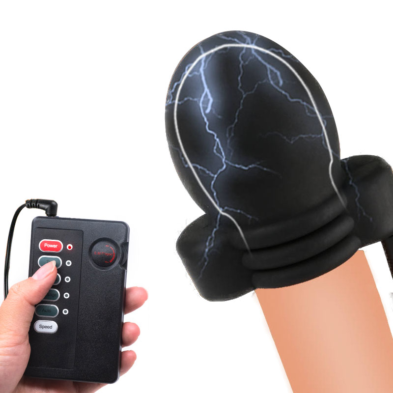 Male Electro Shock Glans Trainer Massage Cup Penis Stimulator Masturbation Delay Training Electric Shock Medical Therapy Sex Toy