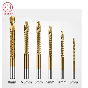 цена на OMY 6Pcs Power Drill & Saw Set HSS Steel Titanium Coated Woodworking Wood Twist Drill Bit 3mm 4mm 5mm 6mm 6.5mm 8mm