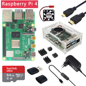 Original Raspberry Pi 4 Model B 1/2/4GB RAM + Case + Fan + Heat Sink + Power Adapter + 32/64 GB SD Card + HDMI Cable for RPI 4B