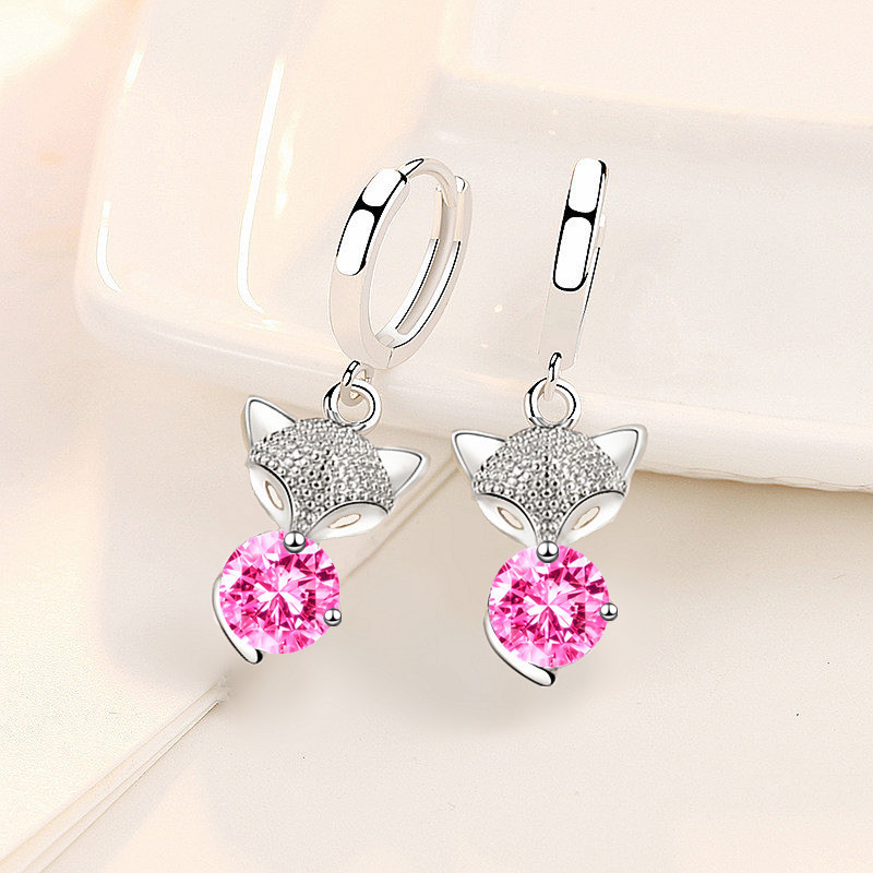 Cute Fox Pink Round Zircon Small Earrings Blue White Crystal Stone Drop Earrings For Women Wedding Jewelry Female Animal Earring
