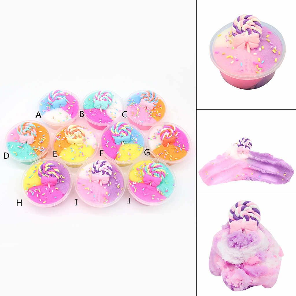 60ML Lollipop ผสมสี Cloud Slime Charms Non-Sticky Slime Clay ของเล่น Magic Plasticine Weightlight ทราย Polymer Antistress โคลน