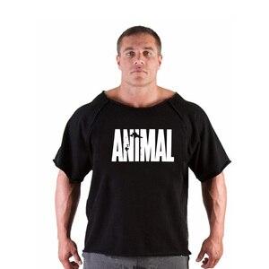 Męskie koszulki Fitness mężczyźni kulturystyka gorilla wear koszula rękaw w kształcie skrzydła nietoperza szmata koszula siłownie Fitness mięśni Running T Shirt