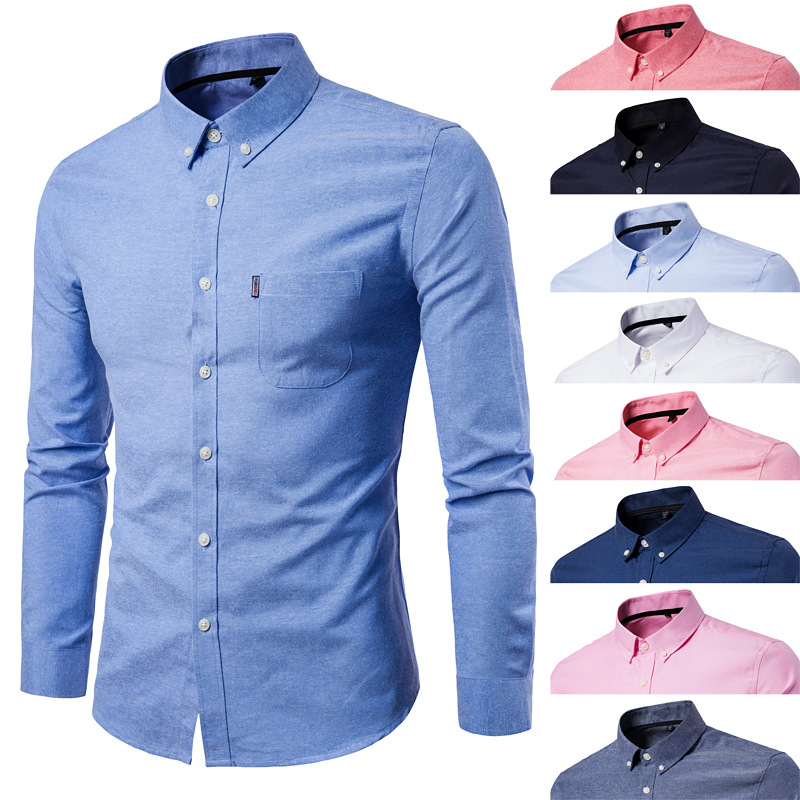 Men Spring And Autumn New Style Solid Color Large Size Long-sleeved Shirt Men's Korean-style Oxford Cloth Slim Fit Multi-color S