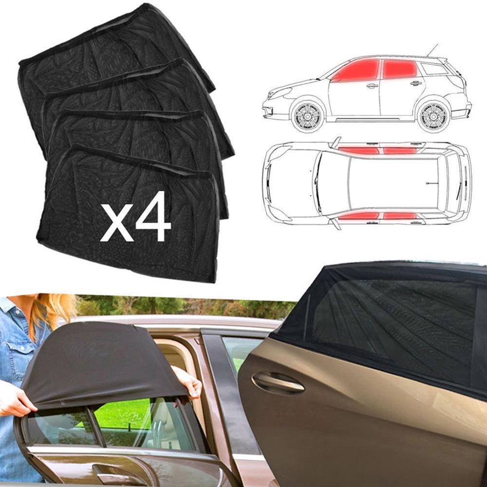 4pcs Car Window Shade Front & Rear Side Sun Visor Shade Mesh Cover Sunshade insulation anti-mosquito Fabric Shield UV Protector