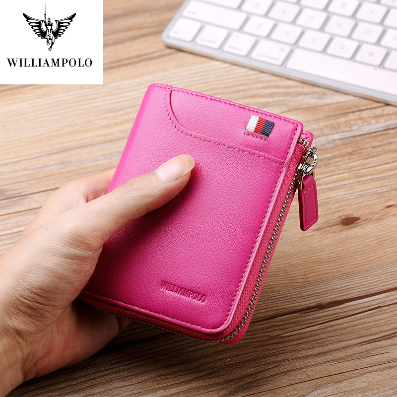 WilliamPolo Full-Grain Leather Short Wallet Women Fashion Credit Card Holder Coin Purses Business Cowhide Zipper Buckle
