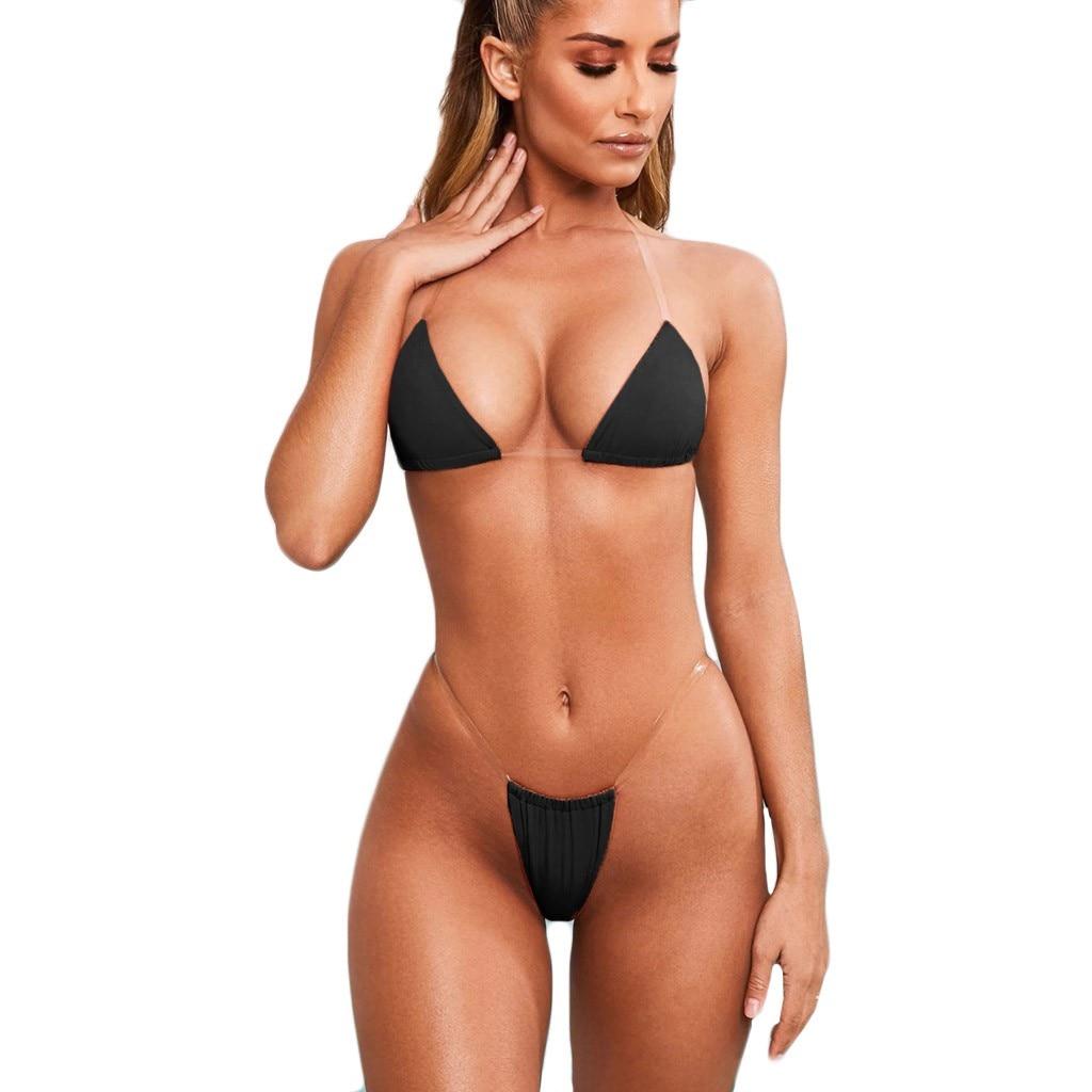New Fashion Two Pieces Women Female Sexy Lingerie Underwear Bra G-String Transparent Strap Set