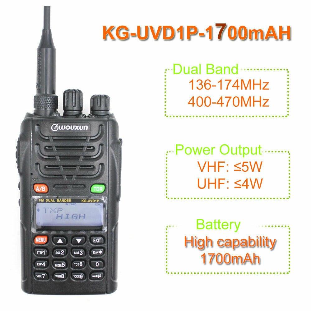 1700mAH Li ion Battery WOUXUN KG UVD1P Dual Band 136 174MHz & 400 470MHz Two Way Radio 128CH UVD1P Walkie Talkie FM Transceiver