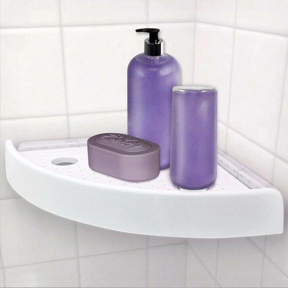 SnapUping Shelf Bathroom Corner Storage Rack Shelf Rack Grip Storage Multifunction Wall Mounted Holder No Drill