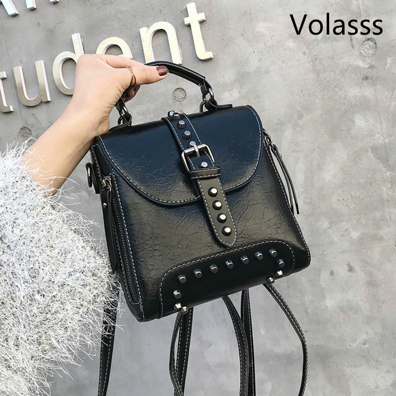 2020 Woman Bags INS Style Exceed Fashion Girl Portable Both Shoulders Package Backpack Bags For Women Female Rivet Small Ladies