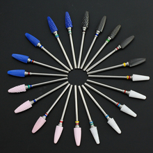 1PCS כחול ורוד קרמיקה תרגיל מסמר חשמלי כרסום חותך עבור מניקור רוטרי Burr Bits פדיקור ג ל להסיר נייל קבצים כלים