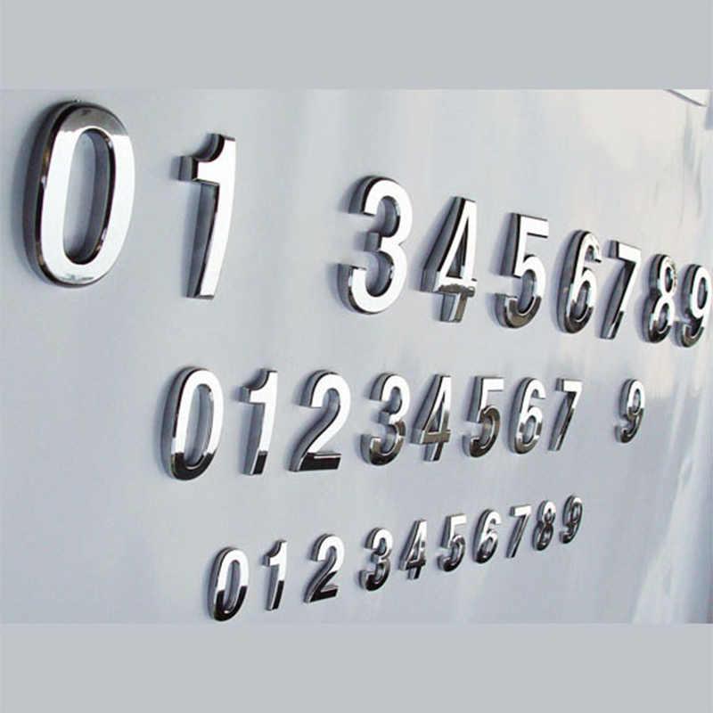 1 PC Fashion Berlapis Dekorasi Rumah Alamat Scutcheon Digit Hotel Pintu Stiker Tanda Plat Nomor Rumah Plakat 5 Cm Silver modern