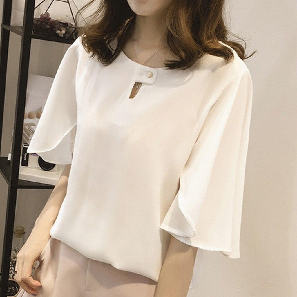 Women Work Office Short-sleeve Solid Color Casual Chiffon Plus Shirt Top Chiffon Blouse Chemisier Femme Nouvelle Collection Plus