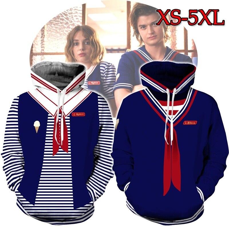 Stranger Things 3 Hoodie Cosplay Robin Costume Jackets Steve Hoodies 3D Pullover Sweatshirt For Men Women Plus Size