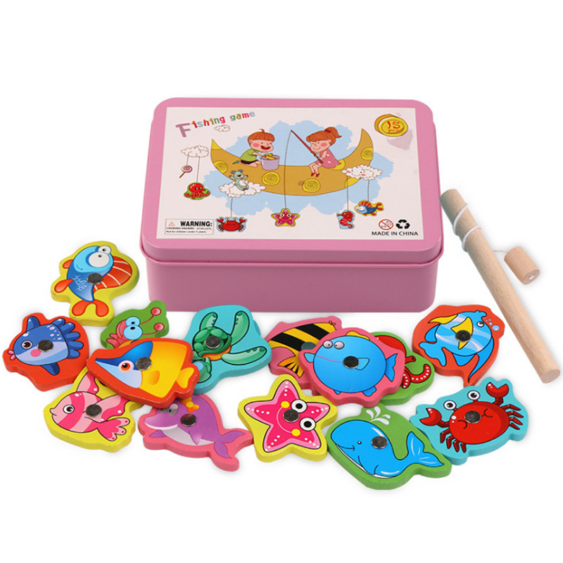 2019 Kids Wooden Magnetic Fishing Game Educational Toys For Children Toy Magnet Fish Games