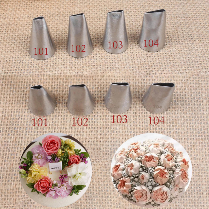 4pcs Rose Petal Shape Pastry Nozzles For Decoraing Cakes Wedding Cake Decorating Tools Cupcake Icing Piping Nozzles Cream Pastry