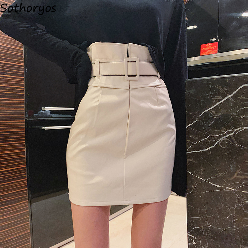 Skirts Women Pu Pencil Empire New Fashion Womens Slim-fit Mature Korean Style Chic Pure Colors Delicate Young Temperament Newest
