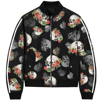 ZOGAA Autumn Winter Women's Jackets Retro Floral Skull Printed Coat Female Long Sleeve Outwear Clothes Bomber Jacket Tops 3XL pink random floral printed jacket