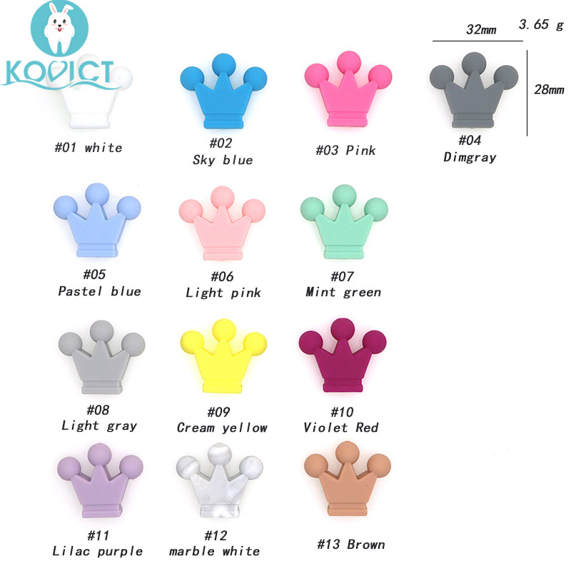 kovict 10pcs Crown Silicone Beads Baby Teething Toys Food Grade Silicone DIY Pacifier Chain Pendant Accessories Baby teethers(China)