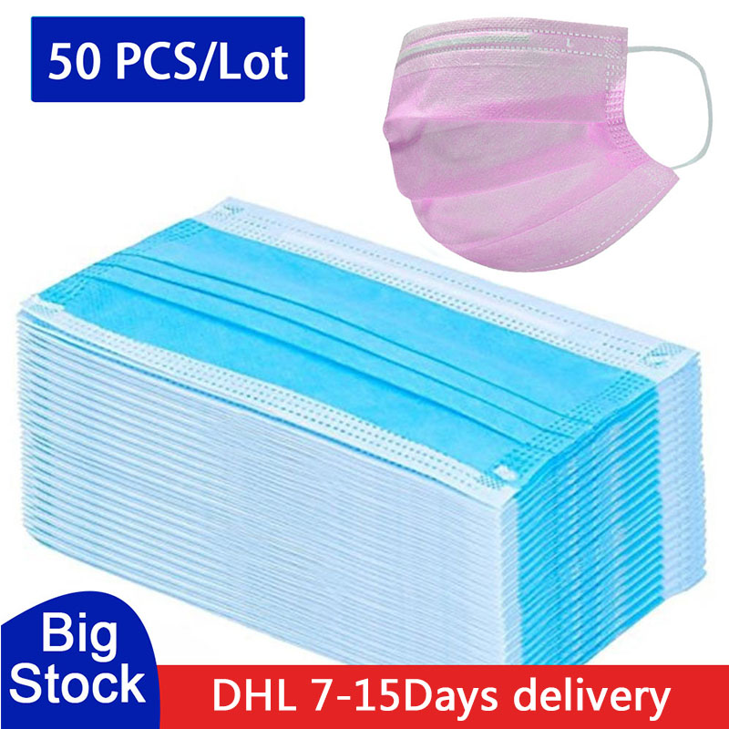 20pcs Face Mouth Anti Dust Mask Disposable Protect 3 Layers Filter Earloop Non Woven Meltblown Cloth Protective High Quality