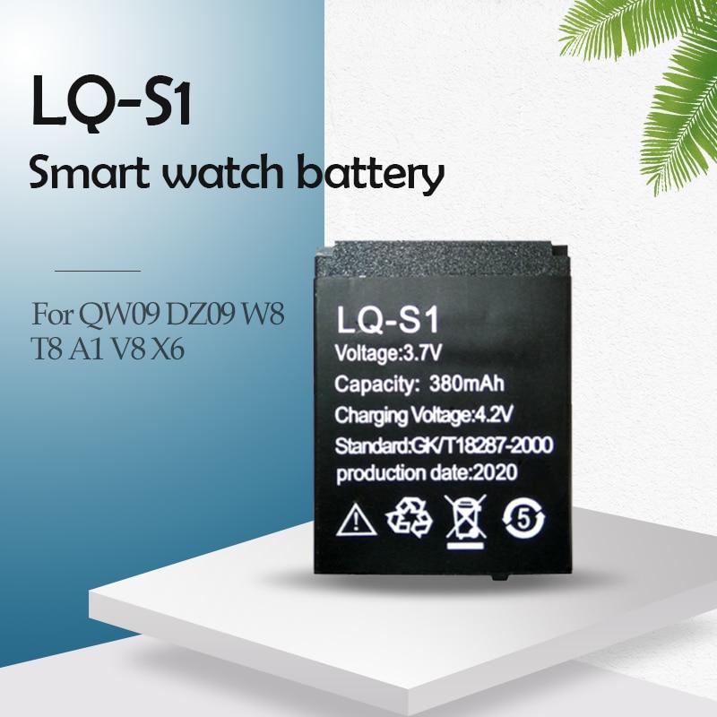 Batterie lithium-polymère Rechargeable pour montre connectée, 3.7V, 380mAh, LQ-S1, QW09, DZ09, W8, A1, V8, X6, HLX-S1
