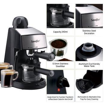 240ml Semi-Automatic Espresso Electric Coffee Machine Express Electric Foam Coffee Maker Kitchen Appliances 220V Sonifer 2