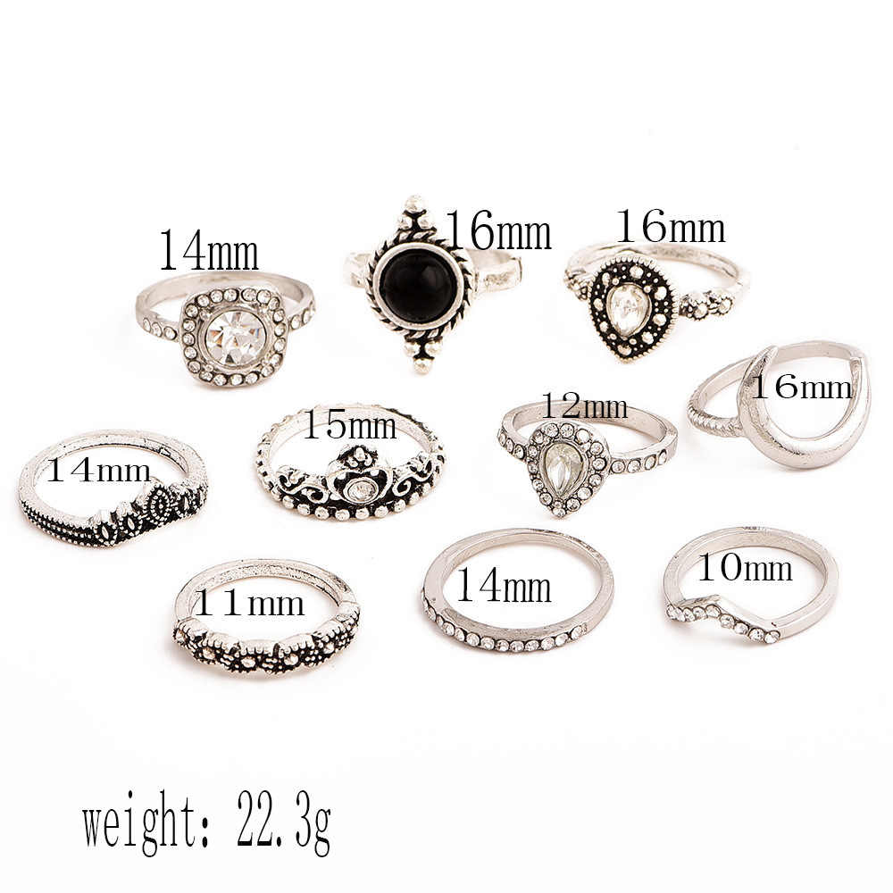 New Ring Bohemian Retro Gem Crown Crystal Moon Heart Waves Geometric Silver Ring Set Rings For Women Party Jewelry