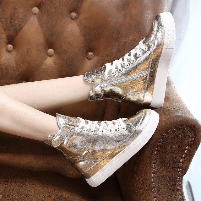 Tleni baskets montantes femmes or et argent 2019 printemps épais-fond haute-taille ceinture côté fermeture éclair chaussures de sport femmes ZW-24