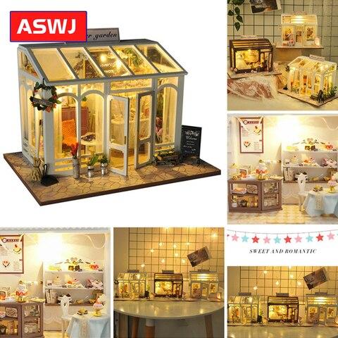 roombox diy casa de bonecas com moveis de madeira casa em miniatura edificios modelos brinquedos