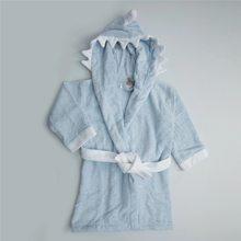 Shark Blue Robe l Cotton and Bamboo Maximum Absorbency Soft Baby Child Kimono