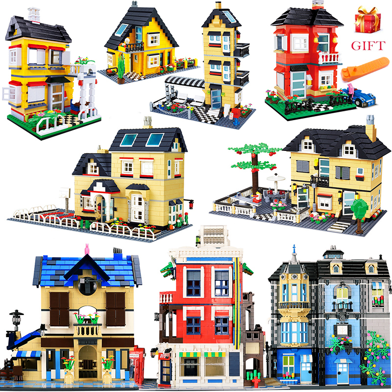 City Architecture Villa Cottage Building Blocks Set Friends Beach Hut Modular Home House Village Model Toys For Children