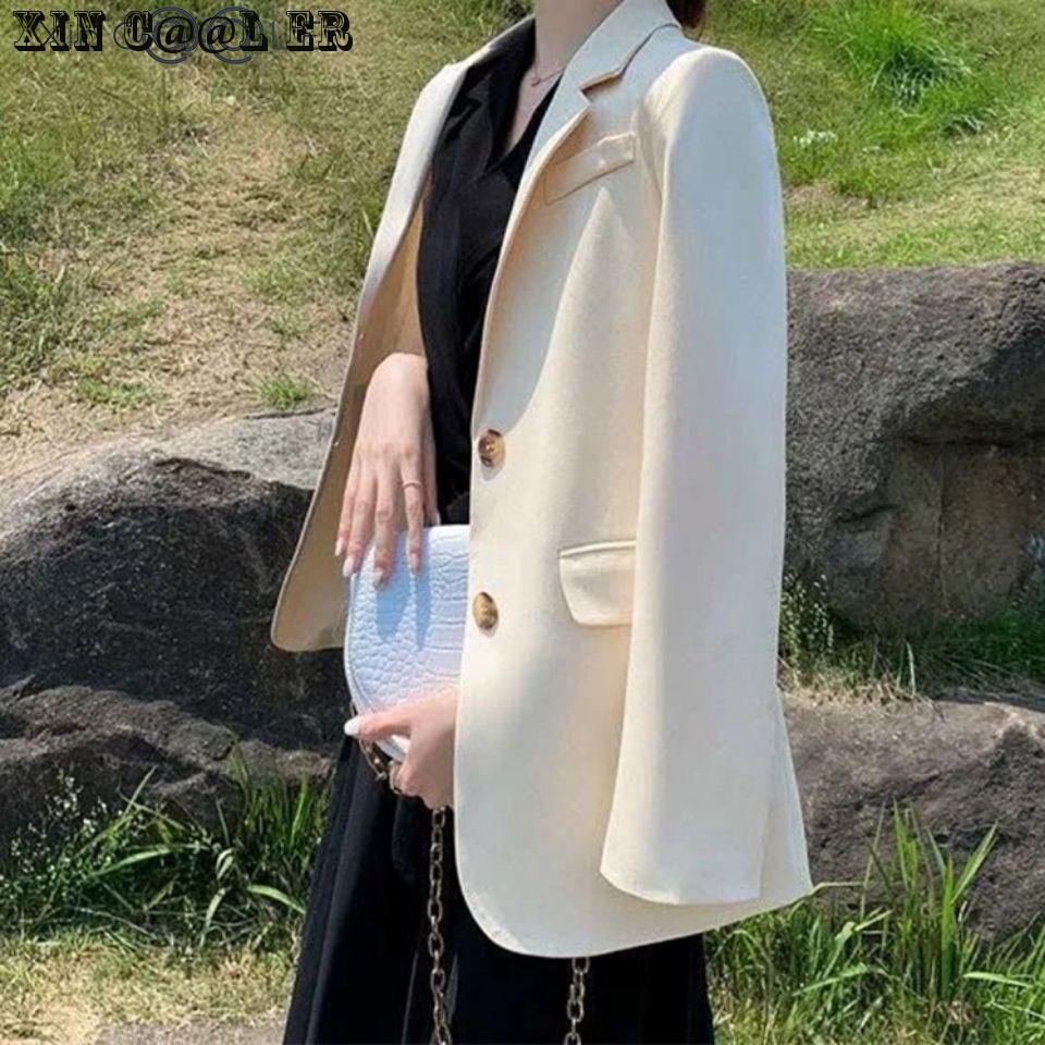 Spring Autumn Fashion New Women Suit Jacket Korean Versatile Casual British Style Work Wear Suits  Black White 1